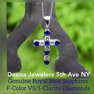 Jewelry - 💎HP💎 18kt Gold Diamond & Sapphire Cross Necklace
